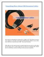 Something More About USB Extension Cables