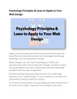 Psychology Principles & Laws to Apply to Your Web Design