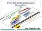 PHP Mysql Training Institute in Bangalore