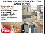 Electric And Gas Cylinder Rheem Hot Water System