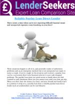 Payday Loan Direct Lender Get You a Payday Loan on Time