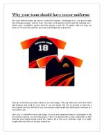 Why your team should have soccer uniforms