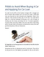Pitfalls to Avoid When Buying A Car and Applying For Car Loan