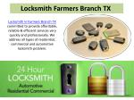 Locksmith services in Farmers branch TX