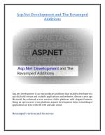 Asp.Net Development and The Revamped Additions