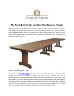 The Amish Dining Table and Chair Manufacturing Process