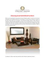 Choosing Great Solid Wood Furniture