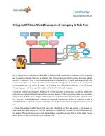 Hiring an Offshore Web Development Company is Risk-Free