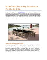Outdoor Bar Stools: Key Benefits that You Should Know