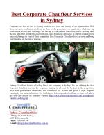 Best Corporate Chauffeur Services in Sydney