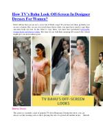 How TV's Bahu Look Off-Screen In Designer Dresses For Women?