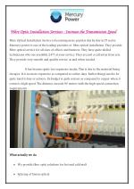Fibre Optic Installation Services - Increase the transmission speed