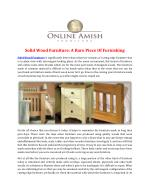 Solid Wood Furniture: A Rare Piece Of Furnishing
