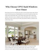 Why Choose UPVC Sash Windows Over Timer