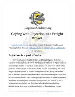 Coping With Rejection as a Freight Broker or Freight Agent