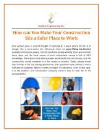 How can You Make Your Construction Site a Safer Place to Work