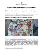 Comprehensive Approach to Medical Treatment