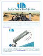 Buying Electric Bicycle Battery