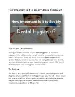 How Important is it to See My Dental Hygienist?