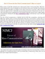 Admissions are open for masters in mass communication and journalism | NIMCJ