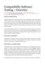 Compatibility Software Testing – Overview