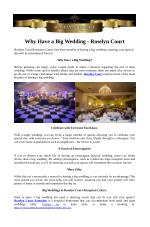 Why Have a Big Wedding - Roselyn Court