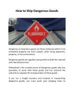 How to Ship Dangerous Goods