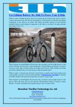 Use Lithium Battery 36v 20ah To Power Your E-Bike