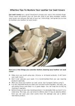 Effective Tips To Restore Your Leather Car Seat Covers