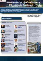 Global Forum on Total Maintenance & Operational Excellence 27th- 28th October 2016 AMSTERDAM - NETHERLANDS