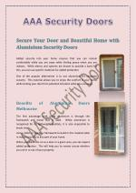 Secure Your Door and Beautiful Home with Aluminium Security Doors