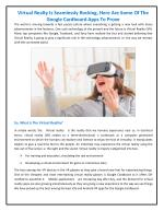 Virtual Reality is Seamlessly Rocking - Virtual Reality Apps