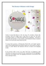The Beauty of Balance with Sonage