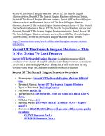 Secret Of The Search Engine Masters Review and (Free) GIANT $14,600 BONUS