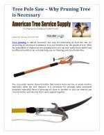 Tree Pole Saw – Why Pruning Tree is Necessary?
