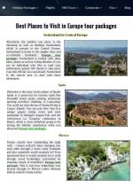 BestPlaces to Visit in Europe tour packages