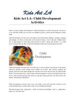 Kids Act LA: Child Development Activities