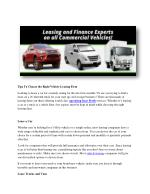 Perfect vehicle leasing, Experinced operating lease