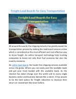 Freight Load Boards for Easy Transportation