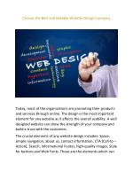 Choose the Best and Reliable Website Design Company