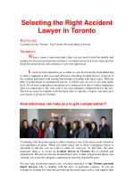 Selecting the Right Accident Lawyer in Toronto