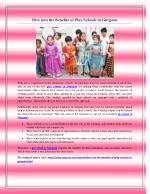 Dive into the Benefits of Play Schools in Gurgaon