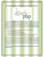 Get the best benefits of PHP Web Development from the experts
