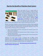 Dig into the Benefits of Stainless Steel Castors