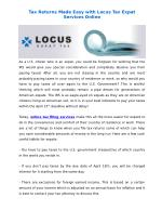 Tax Returns Made Easy with Locus Tax Expat Services Online