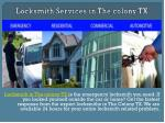 Locksmith Services in The colony TX