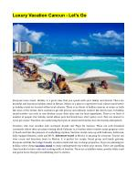 Luxury Vacation Cancun Let's Go