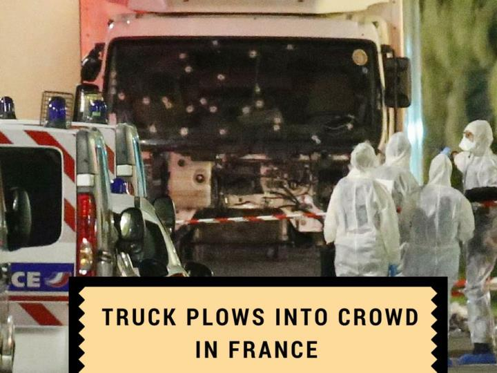 truck furrows into group in france n.