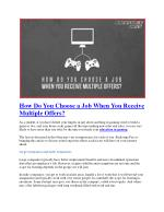 How Do You Choose a Job When You Receive Multiple Offers?