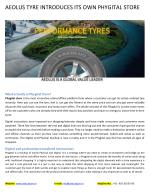Aeolus Tyre Introduces Its Own Phygital Store